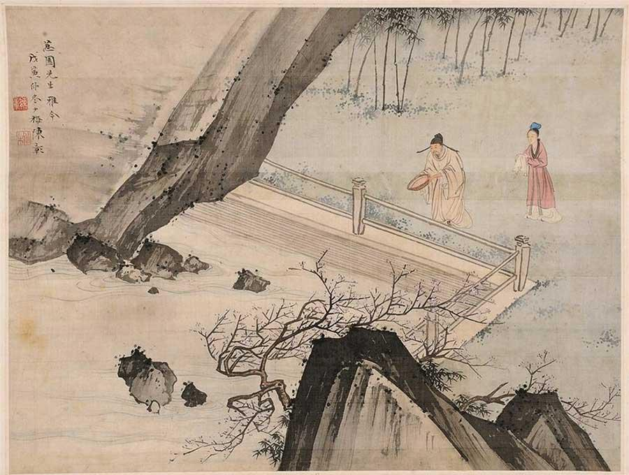 A painting from Chen Shaomei\'s 24 paintings on silk. (Photo provided to China Daily)
