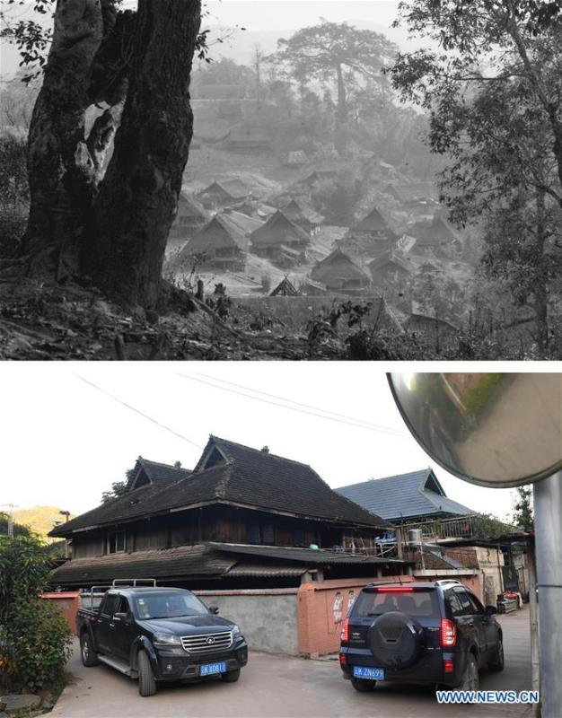 This combination photo shows Jino cottages made of straw on Jino Mountain in 1983 (above, file photo); and new residences as well as motor vehicles in Bapiao Village of Jino Ethnic Township on Jino Mountain, Nov. 20, 2018 (below, photo by Lin Yiguang). With a population of slightly over 20,000, the Jino people had only been officially acknowledged in 1979 as an independent ethnic group of China. Until 1949, most of them had lived for generations in primitive mountain tribes in southwest China\'s Yunnan Province. Over the four decades since it embraced the reform and opening-up policy, China has spared no effort to support ethnic groups with smaller populations. Life on Jino Mountain, where most Jino communities are located, saw positive changes in parallel with improvements in local politics, economy, technology, education, culture, health care, ecology, ethnic development and other social undertakings. Just like its 55 ethnic brethren, the Jino people also benefit from China\'s reform and opening-up in seeking a prosperous life. In Jino Ethnic Township on the Jino Mountain, residents now have direct access to road, water, electricity, TV and radio, as well as the mobile network. Ninety percent of the residents have moved into new houses. Most residents own motorcycles and tractors, and some of them have purchased cars. More people have increased their income by selling local specialty products via the internet, whereas in the past, doing business was perceived as a shame. Currently, the primary education in Jino Ethnic Township achieved 100 percent coverage for all school-age children. More than 99 percent of residents have joined the rural cooperative medical insurance programme. The Jino ethnic culture undergoes protection and inheritance: the great drum dance of the Jino people has been listed as one of China\'s national intangible cultural heritages. (Xinhua)