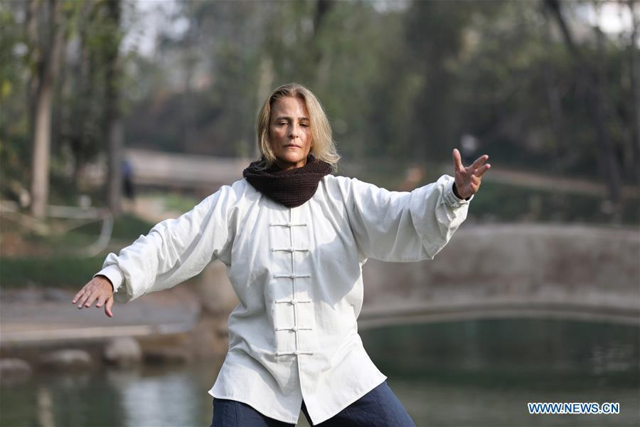 Ana Fidalgo practices Taiji in Chenjiagou Village of Wenxian County, central China\'s Henan Province, Nov. 20, 2018. Ana, who comes from Sao Paulo, Brazil, loves Chinese culture, and is a fan of Taiji. It\'s the third time that she comes to Chenjiagou Village to study Taiji. She has taught what she has learned in China in her hometown when coming back to Brazil in recent years, hoping to benefit more people. (Xinhua/Xu Hongxing)