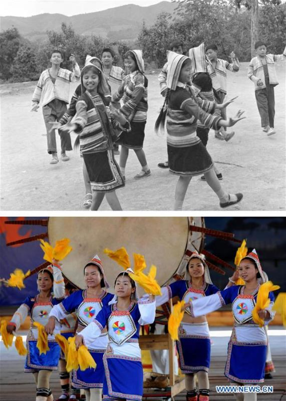 This combination photo shows Jino youths performing a folk dance in 1979 (above, file photo); and female Jino dancers performing the great drum dance in Bapo Village of Jino Ethnic Township on Jino Mountain, Feb. 25, 2011 (below, photo by Lin Yiguang). With a population of slightly over 20,000, the Jino people had only been officially acknowledged in 1979 as an independent ethnic group of China. Until 1949, most of them had lived for generations in primitive mountain tribes in southwest China\'s Yunnan Province. Over the four decades since it embraced the reform and opening-up policy, China has spared no effort to support ethnic groups with smaller populations. Life on Jino Mountain, where most Jino communities are located, saw positive changes in parallel with improvements in local politics, economy, technology, education, culture, health care, ecology, ethnic development and other social undertakings. Just like its 55 ethnic brethren, the Jino people also benefit from China\'s reform and opening-up in seeking a prosperous life. In Jino Ethnic Township on the Jino Mountain, residents now have direct access to road, water, electricity, TV and radio, as well as the mobile network. Ninety percent of the residents have moved into new houses. Most residents own motorcycles and tractors, and some of them have purchased cars. More people have increased their income by selling local specialty products via the internet, whereas in the past, doing business was perceived as a shame. Currently, the primary education in Jino Ethnic Township achieved 100 percent coverage for all school-age children. More than 99 percent of residents have joined the rural cooperative medical insurance programme. The Jino ethnic culture undergoes protection and inheritance: the great drum dance of the Jino people has been listed as one of China\'s national intangible cultural heritages. (Xinhua)