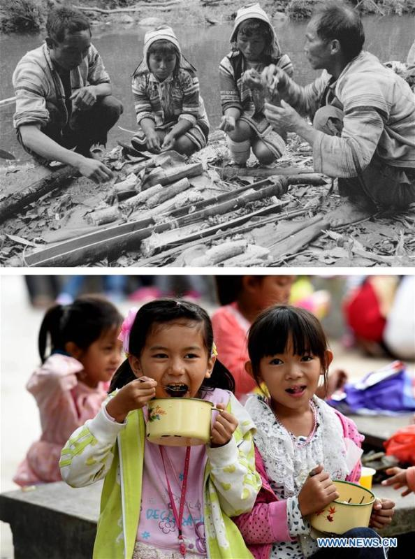 This combination photo shows Jino villagers of Jino Mountain having a riverside meal in 1983 (above, file photo); and students having free lunch at the Ethnic Primary School in Jino Ethnic Township on Jino Mountain, Nov. 4, 2015 (below, photo by Lin Yiguang). With a population of slightly over 20,000, the Jino people had only been officially acknowledged in 1979 as an independent ethnic group of China. Until 1949, most of them had lived for generations in primitive mountain tribes in southwest China\'s Yunnan Province. Over the four decades since it embraced the reform and opening-up policy, China has spared no effort to support ethnic groups with smaller populations. Life on Jino Mountain, where most Jino communities are located, saw positive changes in parallel with improvements in local politics, economy, technology, education, culture, health care, ecology, ethnic development and other social undertakings. Just like its 55 ethnic brethren, the Jino people also benefit from China\'s reform and opening-up in seeking a prosperous life. In Jino Ethnic Township on the Jino Mountain, residents now have direct access to road, water, electricity, TV and radio, as well as the mobile network. Ninety percent of the residents have moved into new houses. Most residents own motorcycles and tractors, and some of them have purchased cars. More people have increased their income by selling local specialty products via the internet, whereas in the past, doing business was perceived as a shame. Currently, the primary education in Jino Ethnic Township achieved 100 percent coverage for all school-age children. More than 99 percent of residents have joined the rural cooperative medical insurance programme. The Jino ethnic culture undergoes protection and inheritance: the great drum dance of the Jino people has been listed as one of China\'s national intangible cultural heritages. (Xinhua)