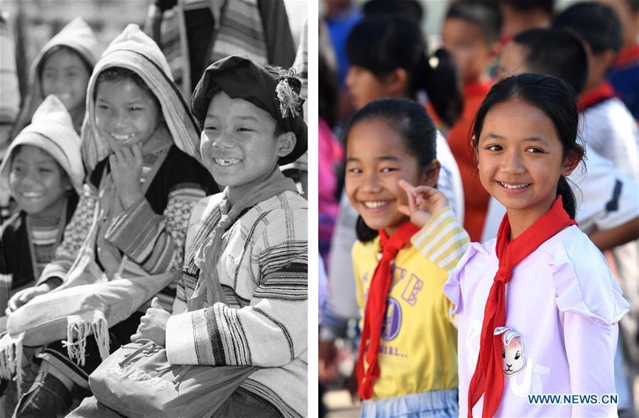 This combination photo shows Jino primary school students in 1984 (left, file photo); and students at the Ethnic Primary School in Jino Ethnic Township on Jino Mountain, Nov. 20, 2018 (right, photo by Lin Yiguang). With a population of slightly over 20,000, the Jino people had only been officially acknowledged in 1979 as an independent ethnic group of China. Until 1949, most of them had lived for generations in primitive mountain tribes in southwest China\'s Yunnan Province. Over the four decades since it embraced the reform and opening-up policy, China has spared no effort to support ethnic groups with smaller populations. Life on Jino Mountain, where most Jino communities are located, saw positive changes in parallel with improvements in local politics, economy, technology, education, culture, health care, ecology, ethnic development and other social undertakings. Just like its 55 ethnic brethren, the Jino people also benefit from China\'s reform and opening-up in seeking a prosperous life. In Jino Ethnic Township on the Jino Mountain, residents now have direct access to road, water, electricity, TV and radio, as well as the mobile network. Ninety percent of the residents have moved into new houses. Most residents own motorcycles and tractors, and some of them have purchased cars. More people have increased their income by selling local specialty products via the internet, whereas in the past, doing business was perceived as a shame. Currently, the primary education in Jino Ethnic Township achieved 100 percent coverage for all school-age children. More than 99 percent of residents have joined the rural cooperative medical insurance programme. The Jino ethnic culture undergoes protection and inheritance: the great drum dance of the Jino people has been listed as one of China\'s national intangible cultural heritages. (Xinhua)