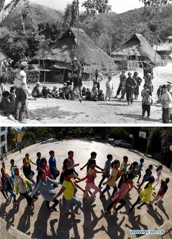 This combination photo shows Jino children taking part in a sports activity on Jino Mountain in 1983 (above, file photo); and students having a P.E. lesson at the Ethnic Primary School in Jino Ethnic Township on Jino Mountain, Nov. 4, 2015 (below, photo by Lin Yiguang). With a population of slightly over 20,000, the Jino people had only been officially acknowledged in 1979 as an independent ethnic group of China. Until 1949, most of them had lived for generations in primitive mountain tribes in southwest China\'s Yunnan Province. Over the four decades since it embraced the reform and opening-up policy, China has spared no effort to support ethnic groups with smaller populations. Life on Jino Mountain, where most Jino communities are located, saw positive changes in parallel with improvements in local politics, economy, technology, education, culture, health care, ecology, ethnic development and other social undertakings. Just like its 55 ethnic brethren, the Jino people also benefit from China\'s reform and opening-up in seeking a prosperous life. In Jino Ethnic Township on the Jino Mountain, residents now have direct access to road, water, electricity, TV and radio, as well as the mobile network. Ninety percent of the residents have moved into new houses. Most residents own motorcycles and tractors, and some of them have purchased cars. More people have increased their income by selling local specialty products via the internet, whereas in the past, doing business was perceived as a shame. Currently, the primary education in Jino Ethnic Township achieved 100 percent coverage for all school-age children. More than 99 percent of residents have joined the rural cooperative medical insurance programme. The Jino ethnic culture undergoes protection and inheritance: the great drum dance of the Jino people has been listed as one of China\'s national intangible cultural heritages. (Xinhua)