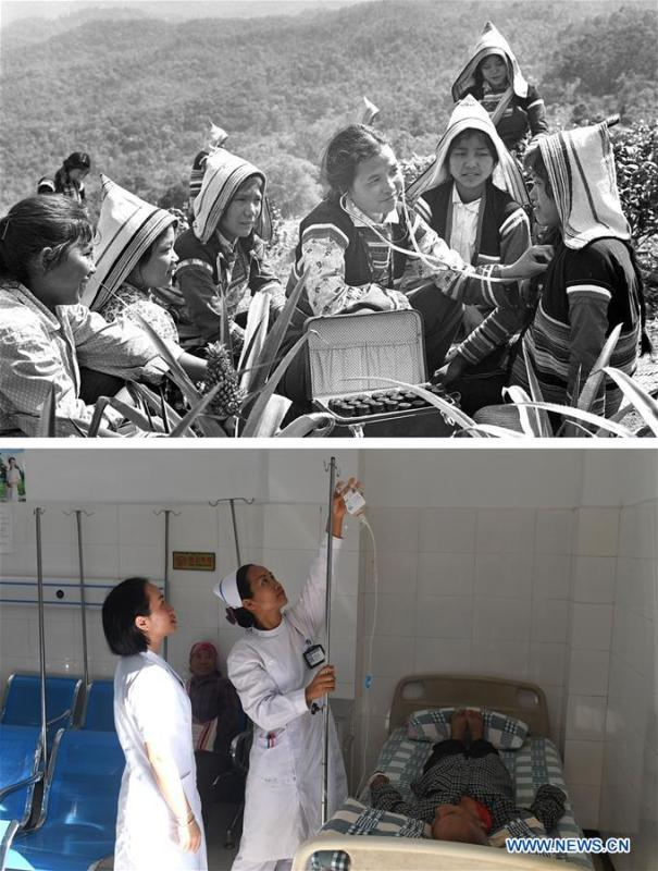 This combination photo shows Jino doctor Bai Lalei (C) giving medical treatment to villagers on Jino Mountain in 1977 (above, file photo); and Jino medical workers Zhou Yifang (1st L) and Zhou Jing (2nd L) giving intravenous injection for a patient at a local hospital in Jino Ethnic Township on Jino Mountain, Nov. 20, 2018 (below, photo by Lin Yiguang). With a population of slightly over 20,000, the Jino people had only been officially acknowledged in 1979 as an independent ethnic group of China. Until 1949, most of them had lived for generations in primitive mountain tribes in southwest China\'s Yunnan Province. Over the four decades since it embraced the reform and opening-up policy, China has spared no effort to support ethnic groups with smaller populations. Life on Jino Mountain, where most Jino communities are located, saw positive changes in parallel with improvements in local politics, economy, technology, education, culture, health care, ecology, ethnic development and other social undertakings. Just like its 55 ethnic brethren, the Jino people also benefit from China\'s reform and opening-up in seeking a prosperous life. In Jino Ethnic Township on the Jino Mountain, residents now have direct access to road, water, electricity, TV and radio, as well as the mobile network. Ninety percent of the residents have moved into new houses. Most residents own motorcycles and tractors, and some of them have purchased cars. More people have increased their income by selling local specialty products via the internet, whereas in the past, doing business was perceived as a shame. Currently, the primary education in Jino Ethnic Township achieved 100 percent coverage for all school-age children. More than 99 percent of residents have joined the rural cooperative medical insurance programme. The Jino ethnic culture undergoes protection and inheritance: the great drum dance of the Jino people has been listed as one of China\'s national intangible cultural heritages. (Xinhua)
