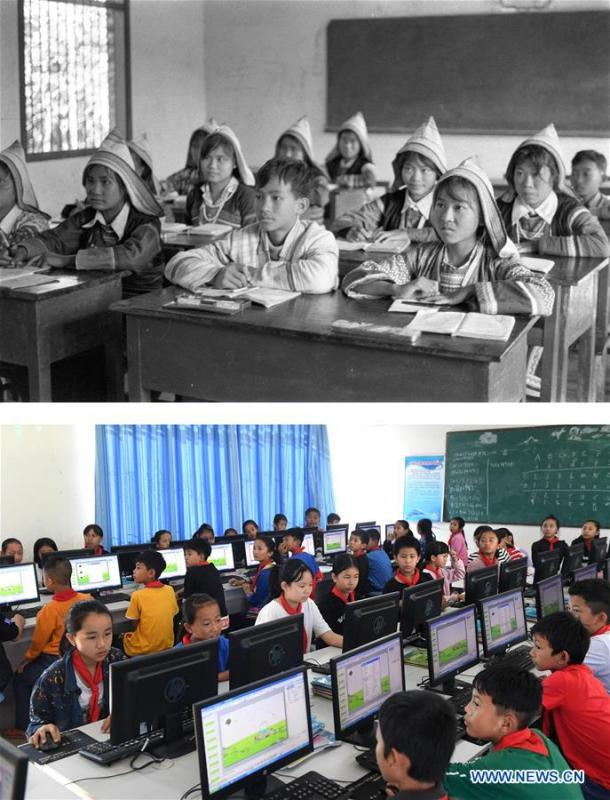 This combination photo shows Jino students attending a class on Jino Mountain in 1984 (above, file photo); and students taking a computer lesson at the Ethnic Primary School in Jino Ethnic Township on Jino Mountain, Nov. 20, 2018 (below, photo by Lin Yiguang). With a population of slightly over 20,000, the Jino people had only been officially acknowledged in 1979 as an independent ethnic group of China. Until 1949, most of them had lived for generations in primitive mountain tribes in southwest China\'s Yunnan Province. Over the four decades since it embraced the reform and opening-up policy, China has spared no effort to support ethnic groups with smaller populations. Life on Jino Mountain, where most Jino communities are located, saw positive changes in parallel with improvements in local politics, economy, technology, education, culture, health care, ecology, ethnic development and other social undertakings. Just like its 55 ethnic brethren, the Jino people also benefit from China\'s reform and opening-up in seeking a prosperous life. In Jino Ethnic Township on the Jino Mountain, residents now have direct access to road, water, electricity, TV and radio, as well as the mobile network. Ninety percent of the residents have moved into new houses. Most residents own motorcycles and tractors, and some of them have purchased cars. More people have increased their income by selling local specialty products via the internet, whereas in the past, doing business was perceived as a shame. Currently, the primary education in Jino Ethnic Township achieved 100 percent coverage for all school-age children. More than 99 percent of residents have joined the rural cooperative medical insurance programme. The Jino ethnic culture undergoes protection and inheritance: the great drum dance of the Jino people has been listed as one of China\'s national intangible cultural heritages. (Xinhua)