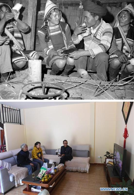 This combination photo shows Jino villagers chatting with each other in 1981 (above, file photo); and Jino senior citizen Ziqie (1st L) watching television program at his new residence with his family, Nov. 20, 2018 (below, photo by Lin Yiguang). With a population of slightly over 20,000, the Jino people had only been officially acknowledged in 1979 as an independent ethnic group of China. Until 1949, most of them had lived for generations in primitive mountain tribes in southwest China\'s Yunnan Province. Over the four decades since it embraced the reform and opening-up policy, China has spared no effort to support ethnic groups with smaller populations. Life on Jino Mountain, where most Jino communities are located, saw positive changes in parallel with improvements in local politics, economy, technology, education, culture, health care, ecology, ethnic development and other social undertakings. Just like its 55 ethnic brethren, the Jino people also benefit from China\'s reform and opening-up in seeking a prosperous life. In Jino Ethnic Township on the Jino Mountain, residents now have direct access to road, water, electricity, TV and radio, as well as the mobile network. Ninety percent of the residents have moved into new houses. Most residents own motorcycles and tractors, and some of them have purchased cars. More people have increased their income by selling local specialty products via the internet, whereas in the past, doing business was perceived as a shame. Currently, the primary education in Jino Ethnic Township achieved 100 percent coverage for all school-age children. More than 99 percent of residents have joined the rural cooperative medical insurance programme. The Jino ethnic culture undergoes protection and inheritance: the great drum dance of the Jino people has been listed as one of China\'s national intangible cultural heritages. (Xinhua)