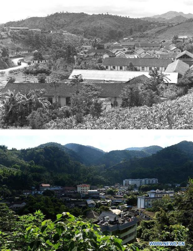 This combination photo shows a corner of Jino Mountain in 1979 (above, file photo); and the local government and its surroundings in Jino Ethnic Township on Jino Mountain on Nov. 4, 2015. (below, photo by Lin Yiguang). With a population of slightly over 20,000, the Jino people had only been officially acknowledged in 1979 as an independent ethnic group of China. Until 1949, most of them had lived for generations in primitive mountain tribes in southwest China\'s Yunnan Province. Over the four decades since it embraced the reform and opening-up policy, China has spared no effort to support ethnic groups with smaller populations. Life on Jino Mountain, where most Jino communities are located, saw positive changes in parallel with improvements in local politics, economy, technology, education, culture, health care, ecology, ethnic development and other social undertakings. Just like its 55 ethnic brethren, the Jino people also benefit from China\'s reform and opening-up in seeking a prosperous life. In Jino Ethnic Township on the Jino Mountain, residents now have direct access to road, water, electricity, TV and radio, as well as the mobile network. Ninety percent of the residents have moved into new houses. Most residents own motorcycles and tractors, and some of them have purchased cars. More people have increased their income by selling local specialty products via the internet, whereas in the past, doing business was perceived as a shame. Currently, the primary education in Jino Ethnic Township achieved 100 percent coverage for all school-age children. More than 99 percent of residents have joined the rural cooperative medical insurance programme. The Jino ethnic culture undergoes protection and inheritance: the great drum dance of the Jino people has been listed as one of China\'s national intangible cultural heritages. (Xinhua)