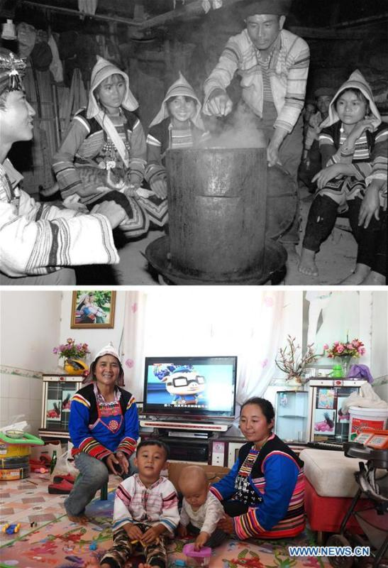 This combination photo shows Jino villager Yaoze (2nd L) having steamed rice with her family members and friends in 1984 (above, file photo); and Yaoze (1st L) taking care of her two grandsons along with her daughter-in-law (1st R) on Nov. 20, 2018 (below, photo by Lin Yiguang). With a population of slightly over 20,000, the Jino people had only been officially acknowledged in 1979 as an independent ethnic group of China. Until 1949, most of them had lived for generations in primitive mountain tribes in southwest China\'s Yunnan Province. Over the four decades since it embraced the reform and opening-up policy, China has spared no effort to support ethnic groups with smaller populations. Life on Jino Mountain, where most Jino communities are located, saw positive changes in parallel with improvements in local politics, economy, technology, education, culture, health care, ecology, ethnic development and other social undertakings. Just like its 55 ethnic brethren, the Jino people also benefit from China\'s reform and opening-up in seeking a prosperous life. In Jino Ethnic Township on the Jino Mountain, residents now have direct access to road, water, electricity, TV and radio, as well as the mobile network. Ninety percent of the residents have moved into new houses. Most residents own motorcycles and tractors, and some of them have purchased cars. More people have increased their income by selling local specialty products via the internet, whereas in the past, doing business was perceived as a shame. Currently, the primary education in Jino Ethnic Township achieved 100 percent coverage for all school-age children. More than 99 percent of residents have joined the rural cooperative medical insurance programme. The Jino ethnic culture undergoes protection and inheritance: the great drum dance of the Jino people has been listed as one of China\'s national intangible cultural heritages. (Xinhua)