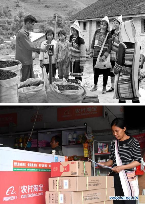 This combination photo shows Jino villagers selling edible fungi and bamboo shoots in 1981 (above, file photo); and Jino villager Li Xiaohui arranging goods at her own e-commerce center in Baduo Village of Jino Ethnic Township on Jino Mountain, Nov. 20, 2018 (below, photo by Lin Yiguang). With a population of slightly over 20,000, the Jino people had only been officially acknowledged in 1979 as an independent ethnic group of China. Until 1949, most of them had lived for generations in primitive mountain tribes in southwest China\'s Yunnan Province. Over the four decades since it embraced the reform and opening-up policy, China has spared no effort to support ethnic groups with smaller populations. Life on Jino Mountain, where most Jino communities are located, saw positive changes in parallel with improvements in local politics, economy, technology, education, culture, health care, ecology, ethnic development and other social undertakings. Just like its 55 ethnic brethren, the Jino people also benefit from China\'s reform and opening-up in seeking a prosperous life. In Jino Ethnic Township on the Jino Mountain, residents now have direct access to road, water, electricity, TV and radio, as well as the mobile network. Ninety percent of the residents have moved into new houses. Most residents own motorcycles and tractors, and some of them have purchased cars. More people have increased their income by selling local specialty products via the internet, whereas in the past, doing business was perceived as a shame. Currently, the primary education in Jino Ethnic Township achieved 100 percent coverage for all school-age children. More than 99 percent of residents have joined the rural cooperative medical insurance programme. The Jino ethnic culture undergoes protection and inheritance: the great drum dance of the Jino people has been listed as one of China\'s national intangible cultural heritages. (Xinhua)