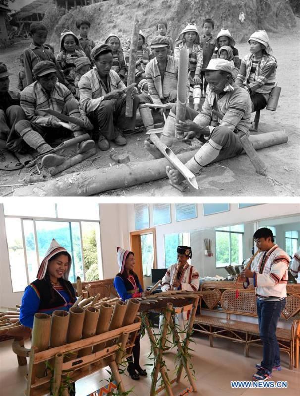 This combination photo shows Jino villagers performing with bamboo musical instruments in 1988 (above, file photo); and culture promotion workers performing with ethnic musical instruments in Jino Ethnic Township on Jino Mountain, Nov. 5, 2015 (below, photo by Lin Yiguang). With a population of slightly over 20,000, the Jino people had only been officially acknowledged in 1979 as an independent ethnic group of China. Until 1949, most of them had lived for generations in primitive mountain tribes in southwest China\'s Yunnan Province. Over the four decades since it embraced the reform and opening-up policy, China has spared no effort to support ethnic groups with smaller populations. Life on Jino Mountain, where most Jino communities are located, saw positive changes in parallel with improvements in local politics, economy, technology, education, culture, health care, ecology, ethnic development and other social undertakings. Just like its 55 ethnic brethren, the Jino people also benefit from China\'s reform and opening-up in seeking a prosperous life. In Jino Ethnic Township on the Jino Mountain, residents now have direct access to road, water, electricity, TV and radio, as well as the mobile network. Ninety percent of the residents have moved into new houses. Most residents own motorcycles and tractors, and some of them have purchased cars. More people have increased their income by selling local specialty products via the internet, whereas in the past, doing business was perceived as a shame. Currently, the primary education in Jino Ethnic Township achieved 100 percent coverage for all school-age children. More than 99 percent of residents have joined the rural cooperative medical insurance programme. The Jino ethnic culture undergoes protection and inheritance: the great drum dance of the Jino people has been listed as one of China\'s national intangible cultural heritages. (Xinhua)