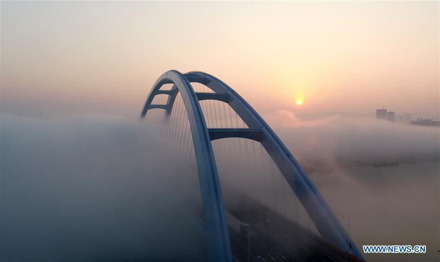 Aerial photo taken on Nov. 27, 2018 shows the Guantang bridge in Liuzhou, south China\'s Guangxi Zhuang Autonomous Region. The bridge, spanning over a distance of 457 meters, opened to traffic on Tuesday. (Xinhua/Li Hanchi)