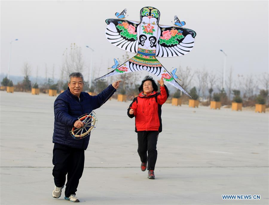 Fu Xianming and his wife fly self-made kites in Shijiazhuang, capital of north China\'s Hebei Province, Nov. 26, 2018. Fu Xianming, a 66-year-old craftsman, has devoted himself in kites making for 20 years. Fu and his wife have made more than 1,500 kites of various shapes since 1998. (Xinhua/Zhang Haiqiang)