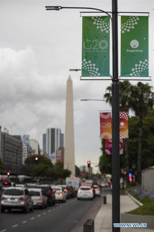 Photo taken on Nov. 27, 2018 shows banners of the G20 summit in Buenos Aires, Argentina. The 13th G20 summit, under the theme of Building Consensus for Fair and Sustainable Development, will be held for the first time in a South American country from Friday to Saturday. (Xinhua/Li Ming)