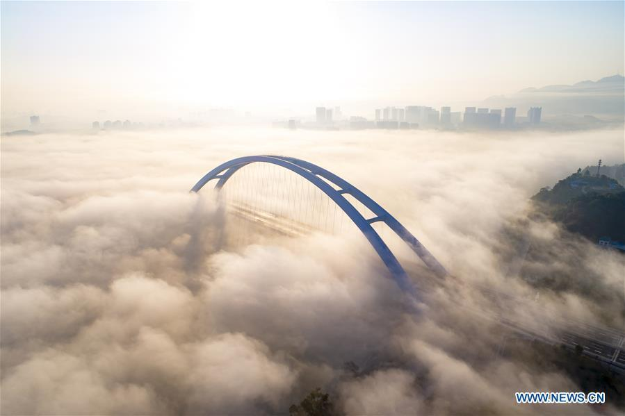 Aerial photo taken on Nov. 27, 2018 shows the Guantang bridge in Liuzhou, south China\'s Guangxi Zhuang Autonomous Region. The bridge, spanning over a distance of 457 meters, opened to traffic on Tuesday. (Xinhua/Li Bin)