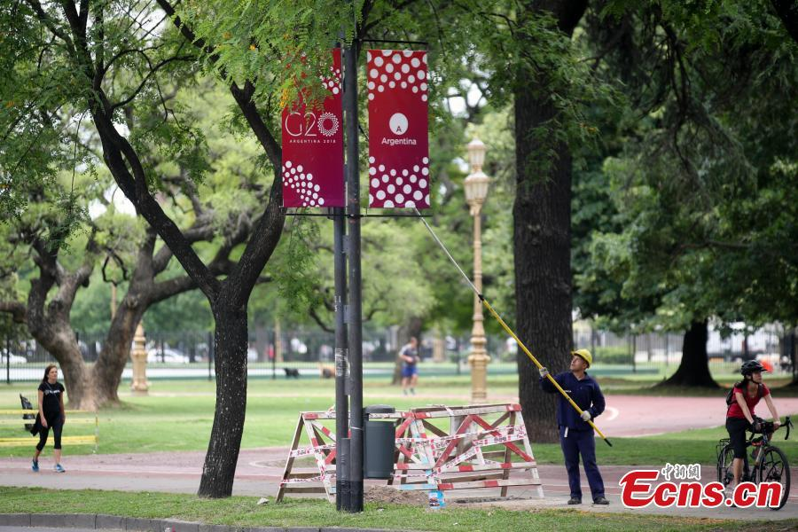 Photo taken on Nov. 27, 2018 shows banners of the G20 summit in Buenos Aires, Argentina. The 13th G20 summit, under the theme of Building Consensus for Fair and Sustainable Development, will be held for the first time in a South American country from Friday to Saturday. (Photo: China News Service/ Sheng Jiapeng)
