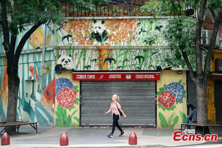 A girl walks in front of a shop with images of pandas marked on its wall at the Chinatown in Buenos Aires, capital of Argentina on November 27, 2018. The 13th G20 summit, under the theme of Building Consensus for Fair and Sustainable Development, will be held in the South American country from Friday to Saturday. (Photo: China News Service/ Sheng Jiapeng)
