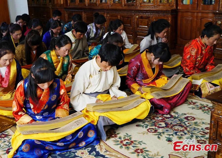 Students at the Tibetan Traditional Medicine College read the Gyud zhi (the Four Tantras) in Lhasa, capital city of the Tibetan autonomous region.  The 13th session of the UNESCO Intergovernmental Committee for the Safeguarding of the Intangible Cultural Heritage inscribed Lum medicinal bathing of Sowa Rigpa onto the Representative List of the Intangible Cultural Heritage of Humanity, at a convention held in Port Louis, capital of the Republic of Mauritius, Nov. 28, 2018.(Photo provided by the National Center for the Safeguarding of the Intangible Cultural Heritage in China)
