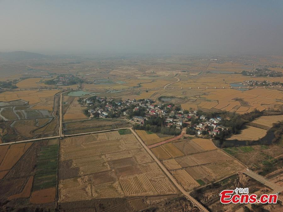 The aerial photo shows an archaeological site along a trans-provincial water diversion project in in Lujiang county, East China's Anhui province. A total of 44 cultural sites are found and put under protection at Anhui section of the water diversion project. (Photo: China News Service/ Li Feng)