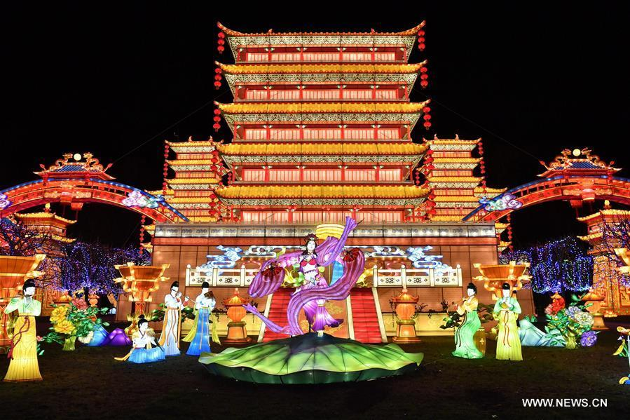 Photo taken on Nov. 30, 2018 shows giant lanterns during the Lantern Festival of Gaillac in Gaillac, France. The 2nd Lantern Festival of Gaillac will open to the public from Dec. 1, 2018 to Feb. 6, 2019, during which 42 sets of Chinese lanterns from Zigong City of southwest China\'s Sichuan Province are presented to visitors. (Xinhua/Chen Yichen)