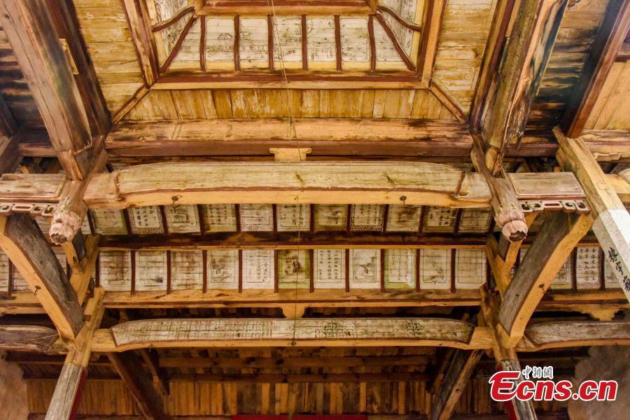 Ancient paintings in an ancestral hall in Sanxi village, Heyuan town, Suichuan county, Ji\'an city, Jiangxi province, on Dec 1, 2018.(Photo: China News Service/ Xiao Yuanpan)