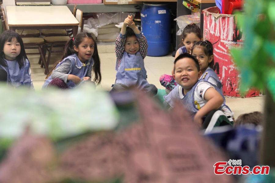 Children play at Argentina's only Chinese-Spanish bilingual public school in the country's capital Buenos Aires in November, 2018. With half of its students being Chinese, the institute features a kindergarten and a primary school. Every class of the school is allocated with a Spanish teacher and a Mandarin teacher. (Photo: China News Service/ Yu Ruidong)