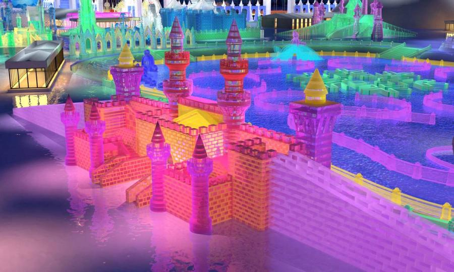 A design sketch for an ice castle.  (Photo provided to chinadaily.com.cn)