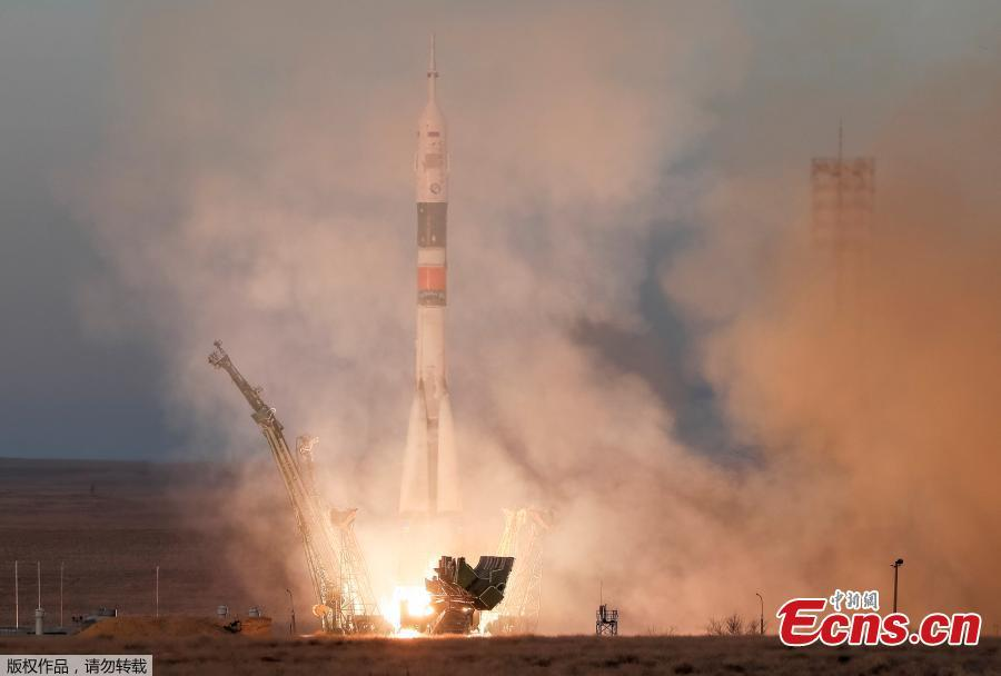 The Soyuz MS-11 spacecraft carrying the crew formed of David Saint-Jacques of Canada, Oleg Kononenko of Russia and Anne McClain of the U.S. blasts off to the International Space Station (ISS) from the launchpad at the Baikonur Cosmodrome, Kazakhstan December 3, 2018. (Photo/Agencies)