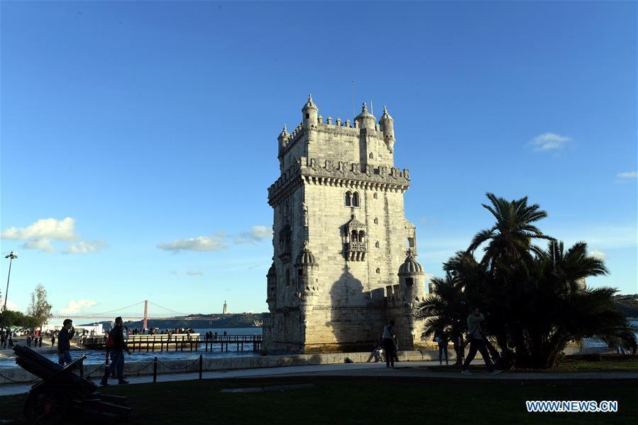 Photo taken on Nov. 23, 2018 shows the Belem Tower in Lisbon, Portugal. (Xinhua/Zhang Liyun)