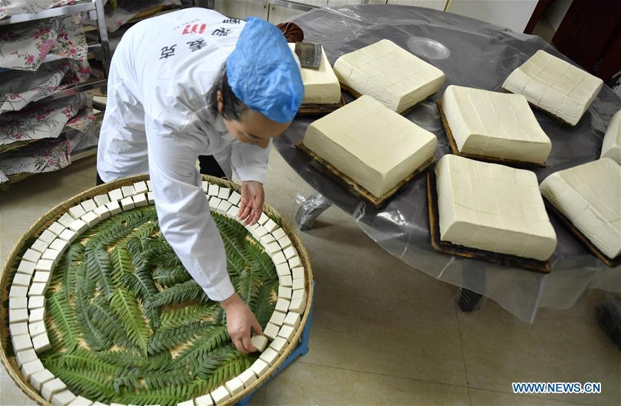 Local resident Yi Yinjie arranges fresh tofu to let them ferment and grow mildew in Zhushan Township of Xuan\'en County in Enshi Tujia and Miao Autonomous Prefecture, central China\'s Hubei Province, Nov. 24, 2018. As a winter tradition, the local residents in Enshi will start making \