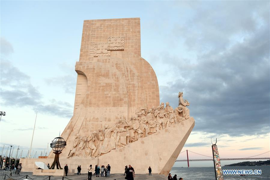 Photo taken on Nov. 23, 2018 shows the Monument to the Discoveries on the Lisbon waterfront in Portugal. (Xinhua/Zhang Liyun)