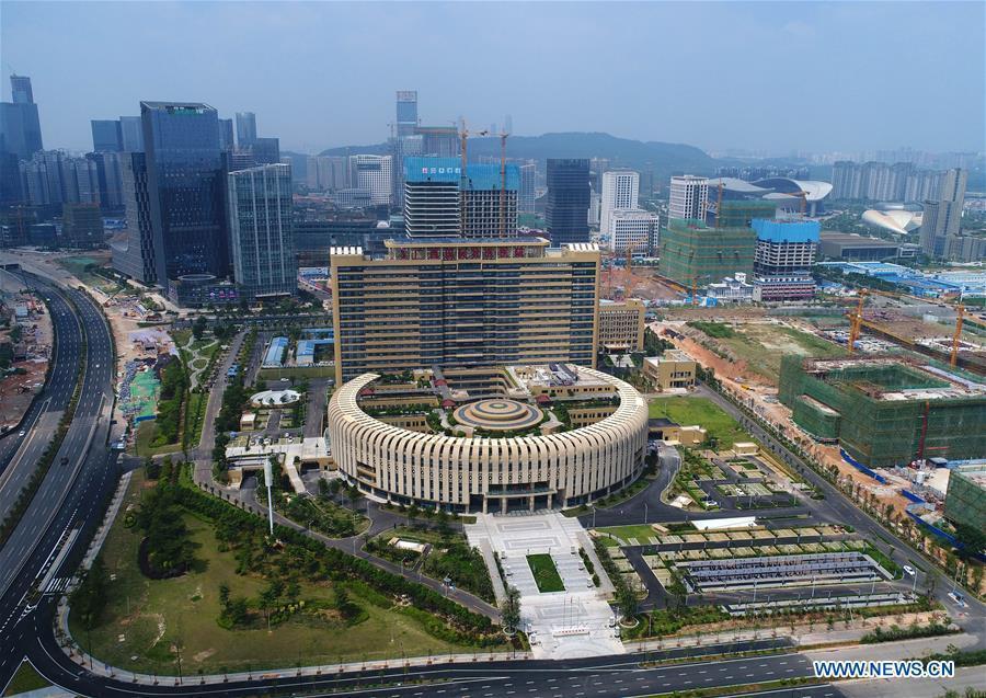 Aerial photo taken on Sept. 15, 2018 shows the Guangxi International Zhuang Medicine Hospital in Nanning, capital city of south China\'s Guangxi Zhuang Autonomous Region. This year marks the 60th anniversary of the establishment of the Guangxi Zhuang Autonomous Region. (Xinhua/Zhou Hua)