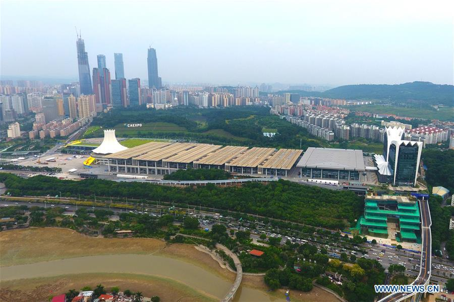 Aerial photo taken on Sept. 6, 2018 shows Nanning International Convention and Exhibition Center in Nanning, capital city of south China\'s Guangxi Zhuang Autonomous Region. This year marks the 60th anniversary of the establishment of the Guangxi Zhuang Autonomous Region. (Xinhua/Wei Xiuling)