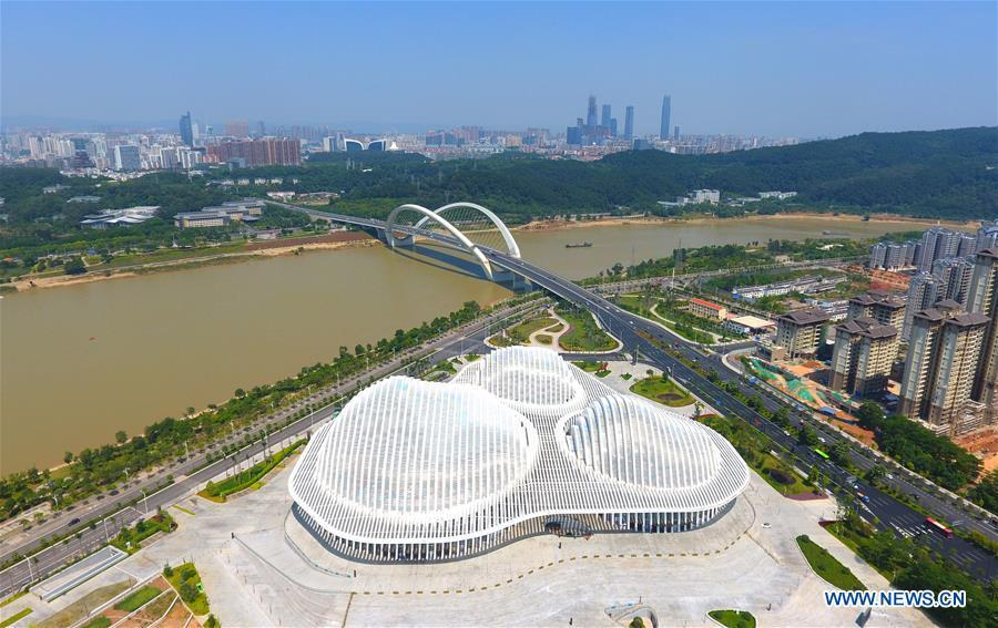 Aerial photo taken on Oct. 4, 2018 shows the Guangxi Culture Artistic Center in Nanning, capital city of south China\'s Guangxi Zhuang Autonomous Region. This year marks the 60th anniversary of the establishment of the Guangxi Zhuang Autonomous Region. (Xinhua/Wei Xiuling)