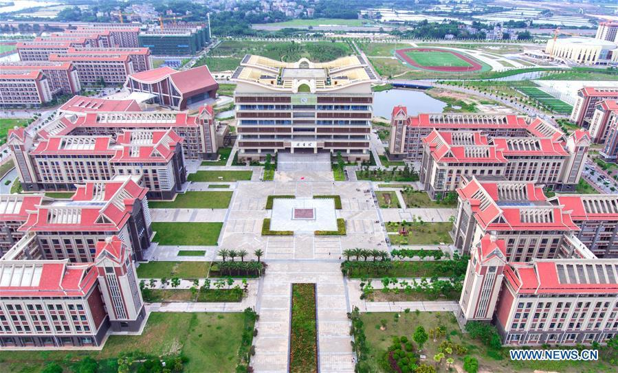 Aerial photo taken on June 6, 2018 shows the Beibuwan University in Qinzhou, south China\'s Guangxi Zhuang Autonomous Region. This year marks the 60th anniversary of the establishment of the Guangxi Zhuang Autonomous Region. (Xinhua/Yu Yong)