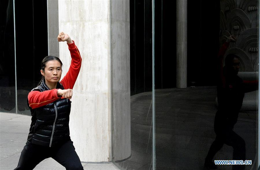 Huo Jinghong, the 5th generation descendant of Huo Yuanjia, a Chinese martial arts master, practices Huo-style boxing at Huo Yuanjia Memorial in Xiaonanhe Village of Jingwu Township in Tianjin, north China\'s Municipality, Nov. 28, 2018. As the descendant of Huo Yuanjia, one of China\'s most revered martial arts masters, Huo Jinghong, 41, started practicing martial arts at the age of 5. After her graduation from the Wushu School of Beijing Sport University in major of Wushu Routine, Huo started her career as a gym teacher of Tianjin University of Commerce in the year of 2000. As a gym teacher, Huo teaches martial arts for the university team and offers classes on health Qigong, a new form selected from different versions of traditional Qigong for modern fitness, in the university. Later in 2015, Huo became the inheritor of Huo-style boxing, which was listed as an intangible cultural heritage in Tianjin, and since then, she has devoted herself to the inheritance and development of the martial arts handed down from the older generation of Huo\'s family. She hoped that the Huo-style boxing would help people understand more about the Chinese martial arts. Huo Yuanjia was born in Tianjin in 1868. He founded the Chin Woo Athletic Association in 1910 in Shanghai and advocated the spirit of \