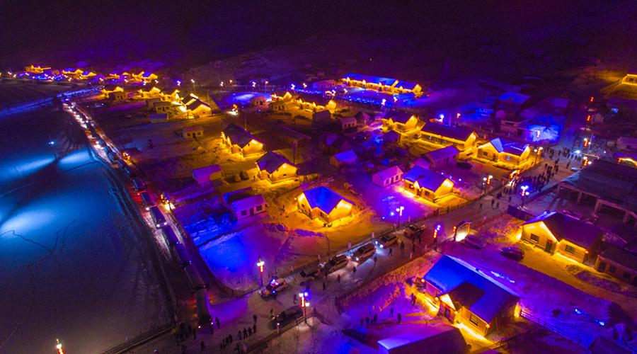 An aerial night view of of Keketuohai Geopark in Northwest China\'s Xinjiang Uygur autonomous region. (Photo provided to chinadaily.com.cn)