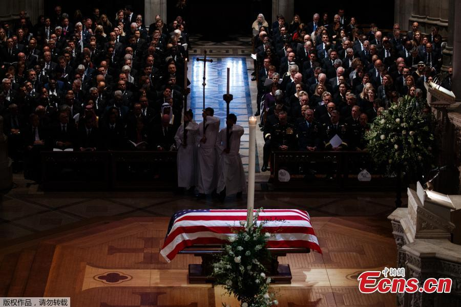 The flag-draped casket of former President George H.W. Bush during a State Funeral at the National Cathedral, Wednesday, Dec. 5, 2018, in Washington.(Photo/Agencies)  In laughter and tears, the United States held a state funeral here Wednesday for the 41st President George H.W. Bush, who has been widely mourned and praised as a good leader and a devoted person with a \