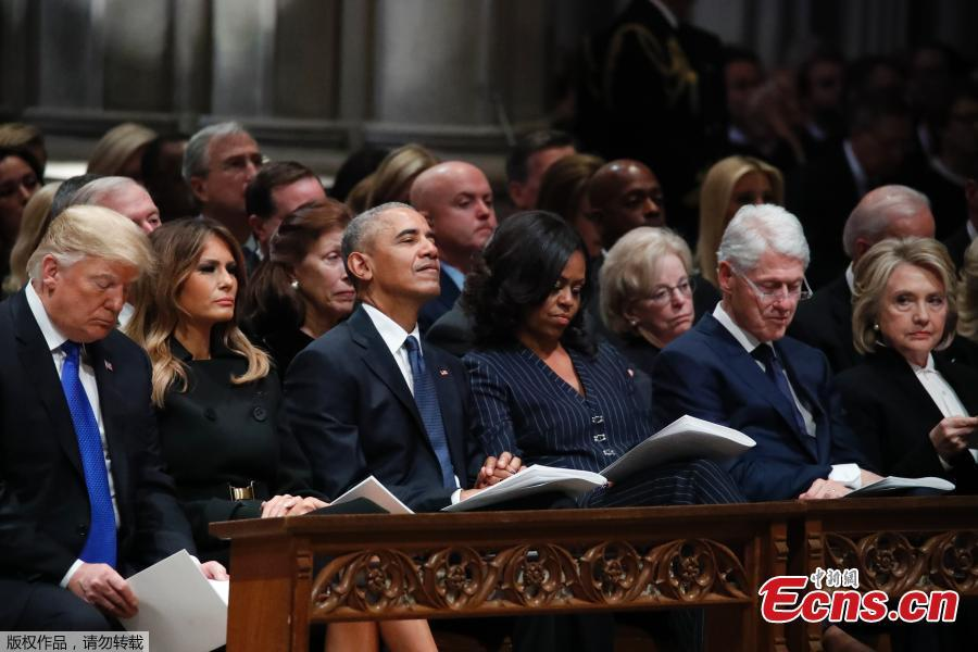 US President Donald Trump, first lady Melania Trump, former President Barack Obama, former first lady Michelle Obama, former President Bill Clinton, former Secretary of State Hillary Clinton, former President Jimmy Carter and former first lady Rosalynn Carter participate in the State Funeral for former President George H.W. Bush, at the National Cathedral, Wednesday, Dec. 5, 2018 in Washington.(Photo/Agencies)