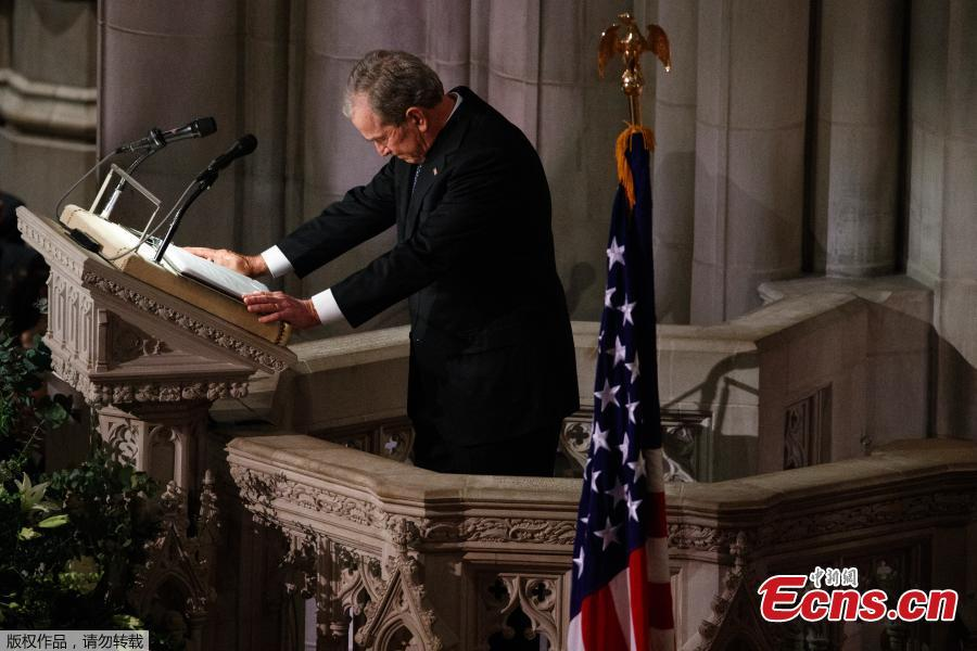 Former President George W. Bush fights back tears as he speaks during the State Funeral for his father, former President George H.W. Bush, at the National Cathedral, Wednesday, Dec. 5, 2018, in Washington.(Photo/Agencies)