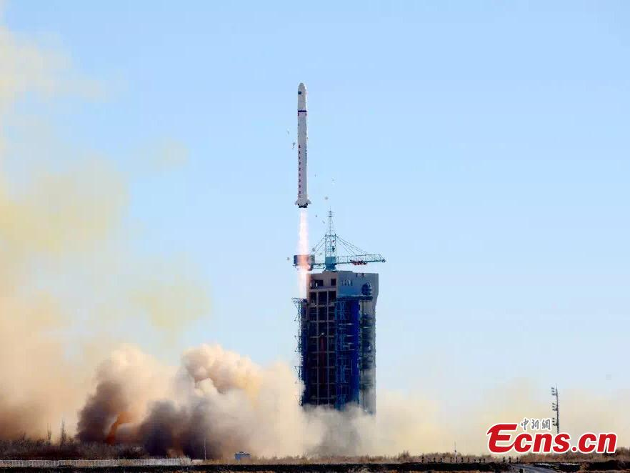 Long March-2D rocket carrying two Saudi satellites was launched from Jiuquan Satellite Launch Center in northwest China at 12:12 p.m. BJT on September 7, 2018. The satellites, Saudi SAT 5A and Saudi SAT 5B, were developed by Saudi Arabia\'s King Abdulaziz City for Science and Technology (KACST). The rocket also carried 10 small satellites developed by Chinese research institutes.(Photo provided to China News Service)