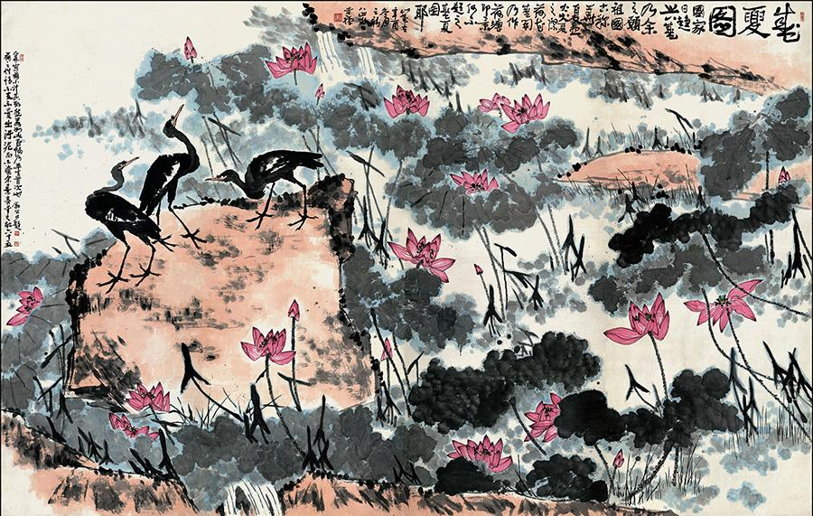 Eagles are a recurring subject in the oeuvre of late modern Chinese ink artist Li Kuchan, who specialized in the genre of flowers and birds in a carefree style. (Photo provided to chinadaily.com.cn)