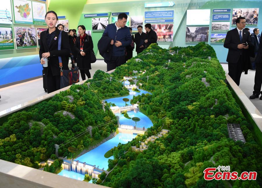 A model of hydropower plants on the Hongshui River at an exhibition to mark the 60th anniversary of the establishment of the Guangxi Zhuang Autonomous Region in the region's capital Nanning City, Dec. 10, 2018. Established in 1958 as an autonomous region, Guangxi has a population of 56 million, including more than 20 million who identify as ethnic minorities. It tops in China's provincial-level regions in minority populations. (Photo: China News Service/Hou Yu)