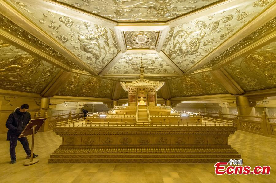 This photo shows the palace that preserved original Tang Dynasty (AD618-907) architecture in Taiyuan Longquan Temple, Shanxi Province, on December 7, 2018. It took 65 tons of pure copper to repair the palace. (Photo: China News Service/ Wei Liang)
