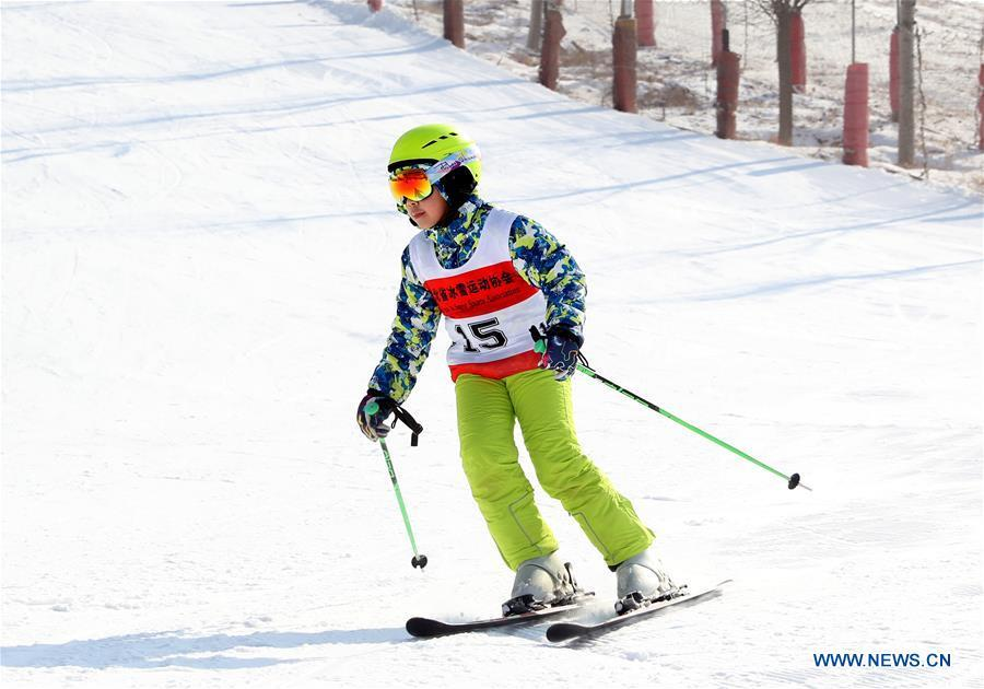 A boy skis at a skiing park in Luquan District in Shijiazhuang, capital of north China\'s Hebei Province, Dec. 9, 2018. (Xinhua/Zhang Xiuke)