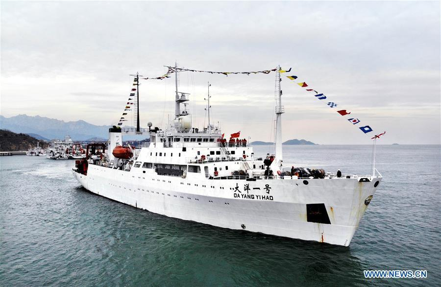The Chinese research vessel Dayang Yihao (Ocean No.1) leaves Qingdao port of east China\'s Shandong Province Dec. 10, 2018, taking researchers on a 230-day scientific ocean expedition. (Xinhua/Li Ziheng)