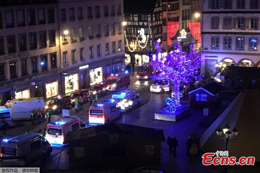 Police, firefighters and emergency services intervene on Place Gutenberg after a shooting on December 11, 2018 in Strasbourg, eastern France.  (Photo/Agencies)