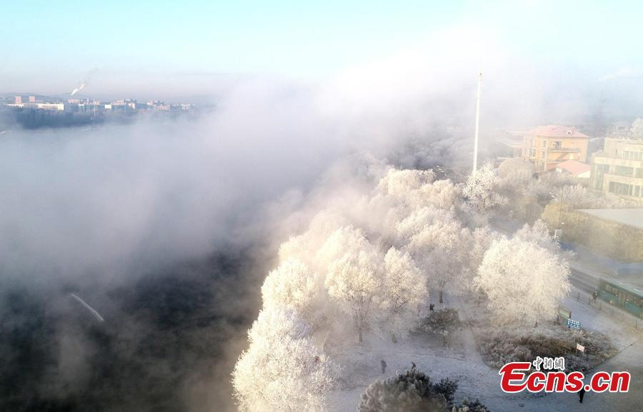 Photo taken on Dec. 12, 2018 shows breathtaking rime scenery along the Songhua River in Jilin City, Jilin Province. (Photo; China News Service/Zhang Yao)
