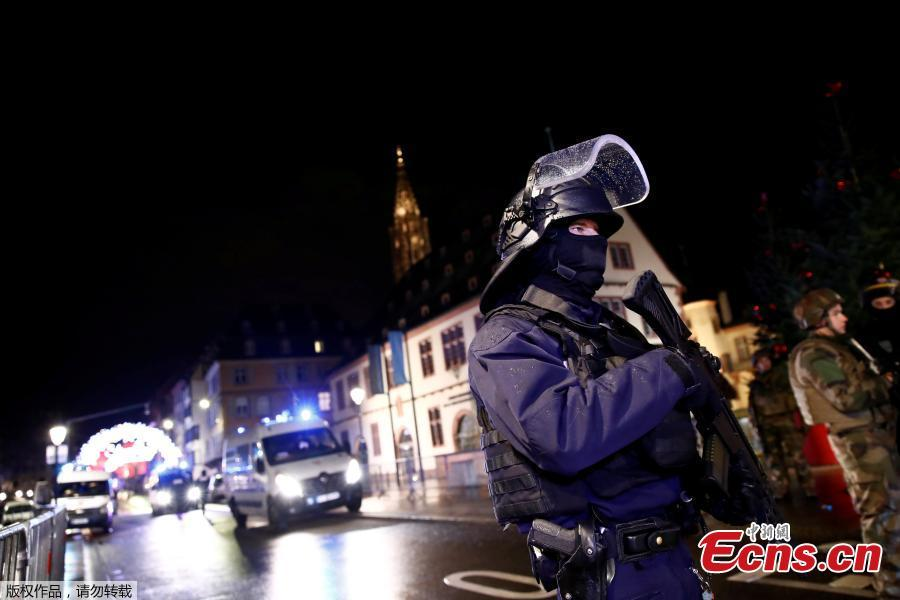 Security forces secure area where a suspect is sought after a shooting in Strasbourg, France, December 11, 2018.  (Photo/Agencies)