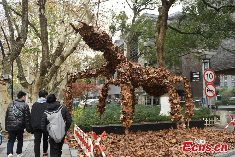 People enjoy a foliage artwork at the West Lake in Hangzhou, Zhejiang Province, Dec. 12, 2108. Hosted by China Academy of Art, the Foliage Artwork Festival attracted many visitors. (Photo: China News Service/Wang Gang)