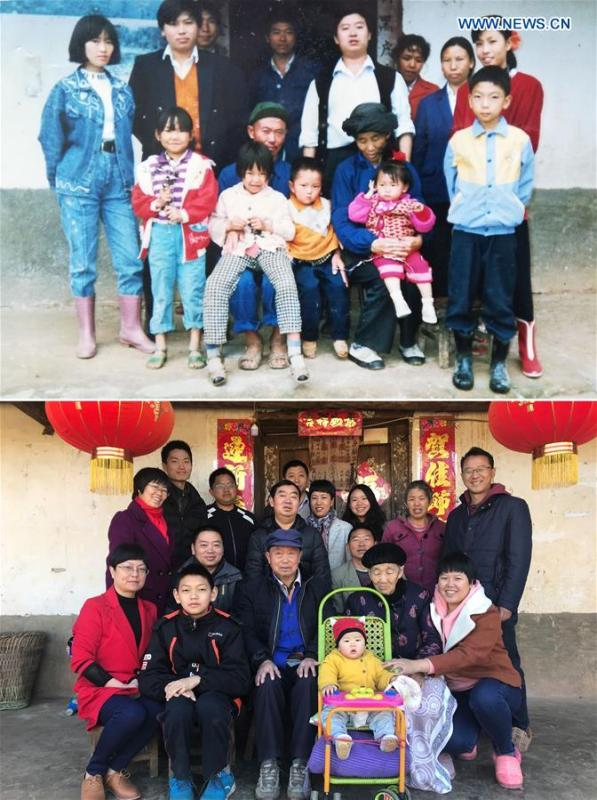 The upper part of this combo photo taken on Oct. 2, 1993 shows two-year-old Liu Yunhan (2nd R, carried by her grandmother) and her family posing for a group photo in Guoyuan Village in southwest China\'s Sichuan Province. The lower part of the combo photo taken by Jiang Hongjing on Feb. 17, 2018 shows Liu Yunhan (3rd R rear) posing with her family in front of their renovated house. Liu now works as a public servant. (Xinhua)